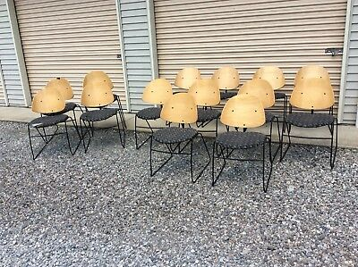 14 VECTA  Mid Century Bent Wood Chairs With Cloth Seats - Good