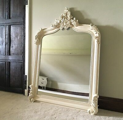 Antique White Cream French Shabby Chic Over mantle Scroll Top Arched Wall Mirror