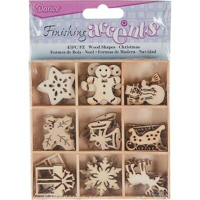 45 Christmas Design Paintable Wood Embellishments for Cards,Scrapbooks & Crafts
