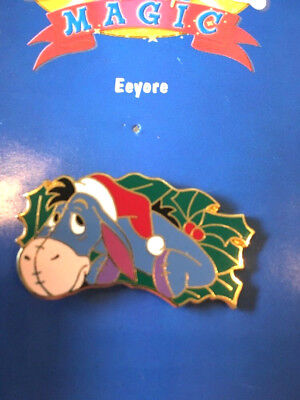 Disney Pin #16958-Eeyore Wearing a Santa Hat with a Christmas Wreath Set-Holly