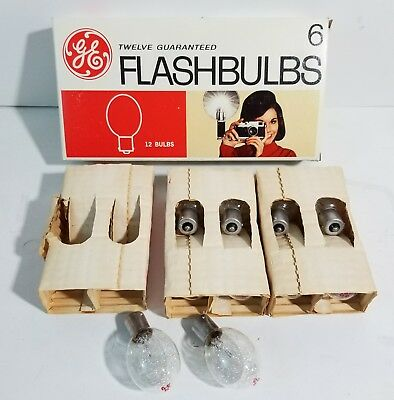 12 Vintage GE No. 6 clear FOCAL PLANE flashbulbs NOS