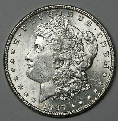 1897 Morgan Dollar Choice BU 90% Silver Dollar US Coin