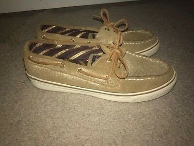 2d30903b594 Sperry Top Sider Bahama Loafer Boat Shoes - Women s Sz 8 EUC - Gold Shimmer