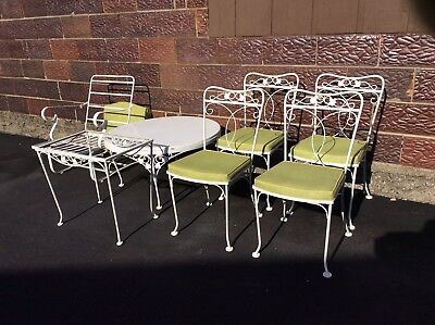 Vintage 7 Piece LYON SHAW Wrought Iron Patio Set - Very Good