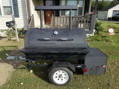 "Reverse Flow Bbq Smoker On Trailer, 48"" Long X 30"" Round, Brand New"