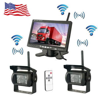 """2X Wireless Rear View Backup Camera Night Vision System+ 7"""" Monitor For RV Truck"""