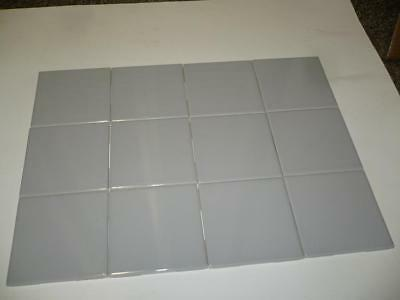 Vintage Lot of 12 Gray Ceramic Wall Tiles Glossy - Made in USA - NEW NOS