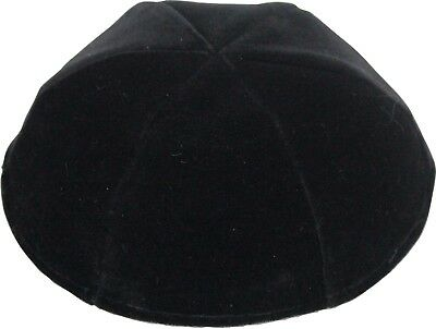 23 cm Black Plush Velvet Kipah Kippah Yarmulke 6 Parts Without Trim
