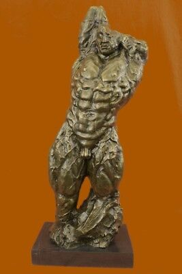 Original Signed Nude Male Bust Torso Bronze Sculpture Art Statue Figure Figurine