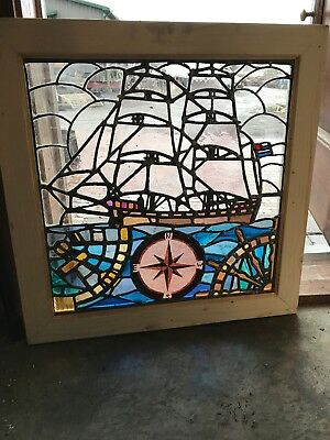 SG2626 antique sailing ship anchor compass Stainglass window 27.75 x 28H