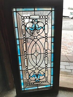 Sg 2628jeweled stained beveled transom window 15.75 x 31.5
