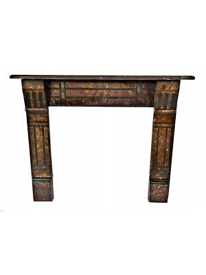 19Th C Marbleized Slate Fireplace Mantel With Lightly Incised Design Motifs