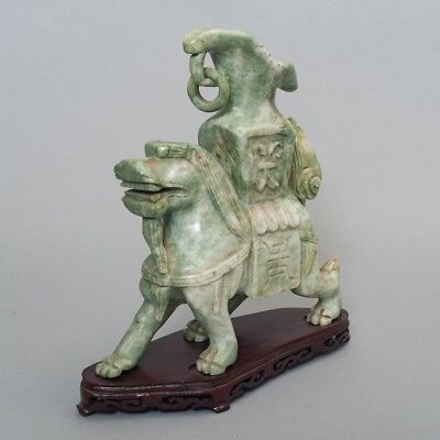 """Antique Chinese Carved Green Stone Jade Dragon Statue Vase 10.5"""" + Wood Base"""