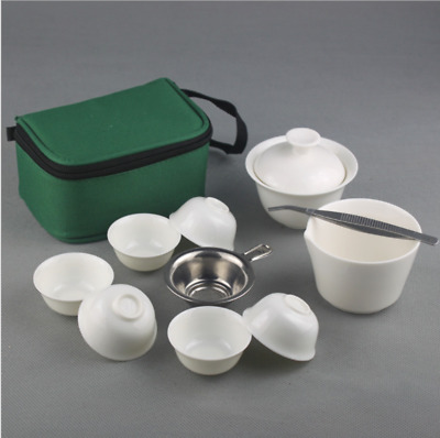 11Pcs Chinese PortableTravel Tea Sets Ceramic Bone China Gaiwan Teacup Kung Fu