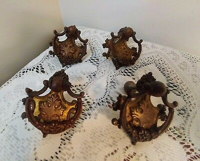 Antique Brass Drawer Pulls Vintage Replacement Lot of 4 w/Orig Hardware