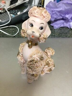 Vintage Pink Spaghetti Ceramic Poodle Gold Trim Numbered 1G4179 Japan