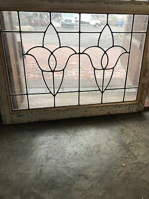 SG 2630 antique leaded glass 2 tulip design transom window 25 x 34