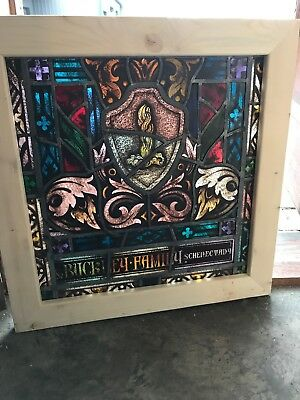 SG 2631 antique painted in fired fire center landing window 26 x 26.5