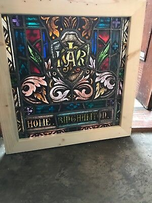 Sg 2632 Antique Painted And Fired Landing Window Religious 26 X 26.5