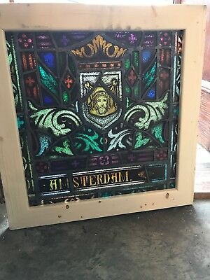 Sg 2633 Antique Painted In Fired stained glass window Amsterdam 26 x 26.5