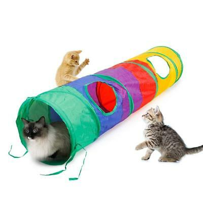 Rainbow Funny Tunnel Tent Agility Cat Training Folding Cat Play House Holiday T9