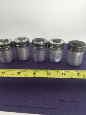 5 ea Vintage 35mm Aluminum Film Holder Canisters - Containers w/ Screw on Lids
