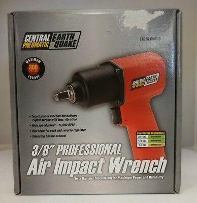 """Central Pneumatic Earthquake Air Impact Wrench - 3/8"""" (68425) New In Box"""