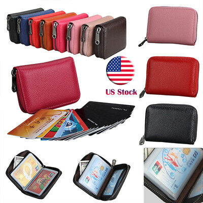 Women Wallet Credit Card Holder RFID Blocking Zipper Ladies Coin Pocket Purse T9