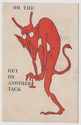 c1905 Oh The DEVIL Get on Another Tack Antique Comic UDB Postcard Funny
