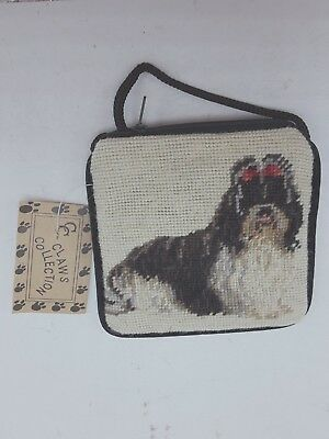 Shih Tzu Wool Needlepoint Coin Purse With Zip Close & Shoulder Cord