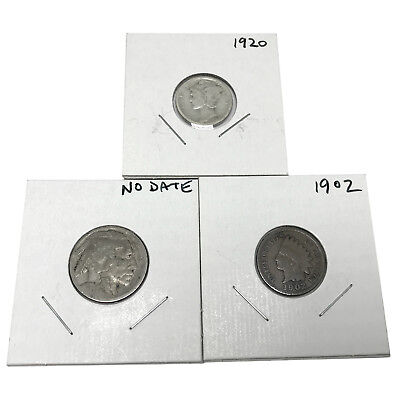 3 US Coins Silver Mercury Dime Buffalo Nickel Indian Penny Free USA Shipping s01