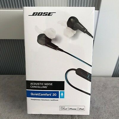 Bose Headphones QuietComfort 20 Acoustic Noise Cancelling In-Ear Only Black $249