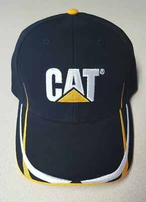 Caterpillar black ball cap Hat Embroidered CAT logo w/Gold/white trim NWT