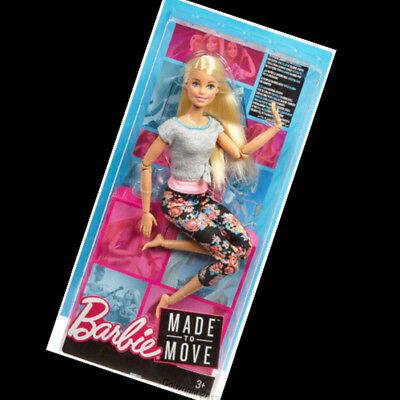 2018 MADE TO MOVE Blonde Barbie Doll Gray Top Floral Leggings Brand NEW Poseable