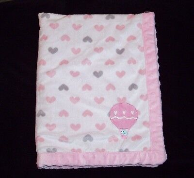Carters Child of Mine Hot Air Balloon Bird Baby Blanket Pink Grey Hearts Lovey