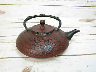 Cast Iron Maple Leaf Japanese Tea Kettle Tetsubin