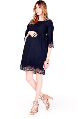 NWT Ingrid & Isabel Lace Trim Bell Sleeve Maternity Dress Black Women's XS $98