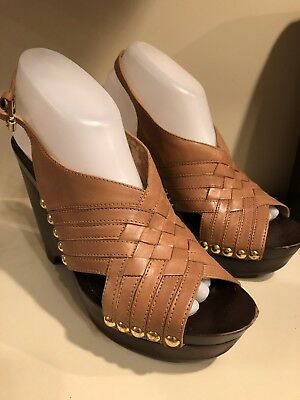 e0a1159a0907 Michael Kors Brown Woven Leather Platform Wedge Open Toe High Heels Sandals  Sz 9