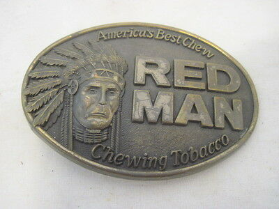 Old Red Man Chewing Tobacco Chew Chief Indian Belt Buckle Clothing