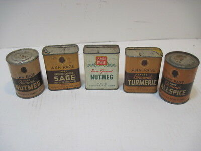5 Old Tin Cans Ann Page Herbs Sage Nuting All Spice Advertising