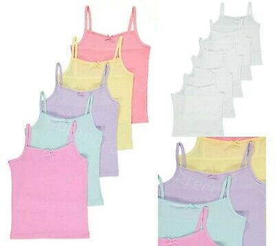 5 Pack Kids Girls White /Pastel Cami Vests Underwear 100% Cotton Age 1-14 YEARS