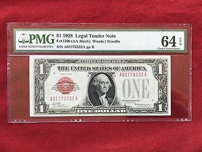 FR-1500 1928 Series $1 Red Seal US Legal Tender Note *PMG 64 EPQ Choice Unc*