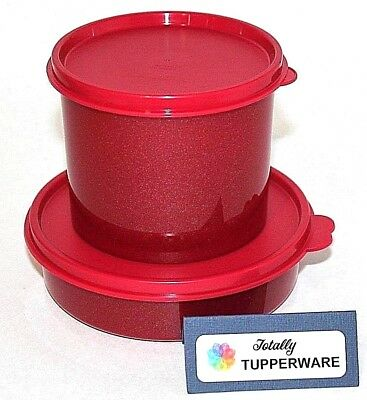 Tupperware Canister and Bowl 1.5 & 2.5 Cup Lunch Set of 2 in Glitter Sparkle Red