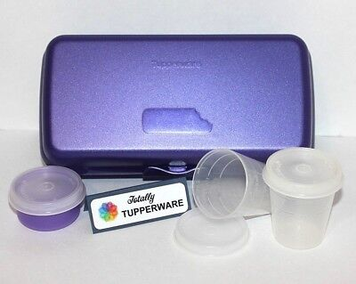 Tupperware Sandwich Keeper Lunch Set of 4 Purple Sub Container Smidget & Midgets