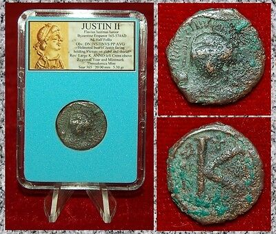 Ancient Byzantine Empire Coin JUSTIN II Helmeted Bust Of Emperor on Obverse