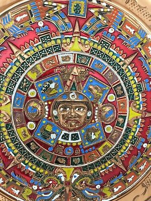 Vintage Hand Crafted Mayan Aztec Calendar Wall Hanging Plate Folk Art Pottery