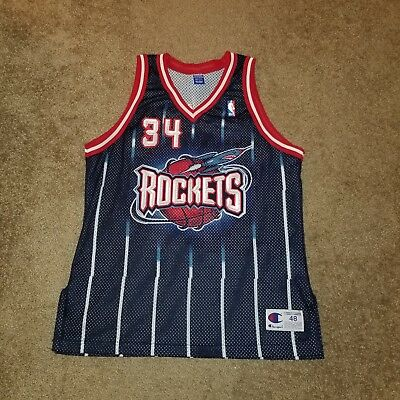 wholesale dealer e2735 e36da AUTHENTIC VINTAGE CHAMPION Houston Rockets Hakeem Olajuwon Jersey Size 48  USA...