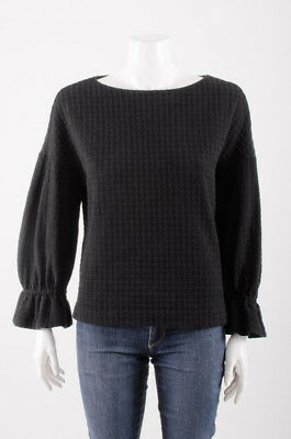 SANDRO	Black Houndstooth Waffle Knit Long Sleeve Peasant Tee Top Blouse S
