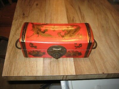 """Vintage Chinese Red Leather Jewelry Box Painted with Dragon & Peacock 8 & 3/4"""""""