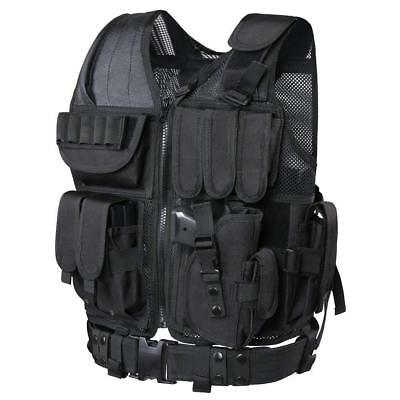 Tactical Vest Military Molle Hunting Paintball Airsoft Muti-Pocket Jacket Black